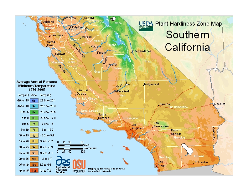 Hardiness California South Map Image
