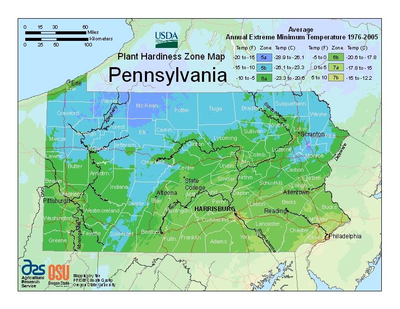 Hardiness pa Map Image