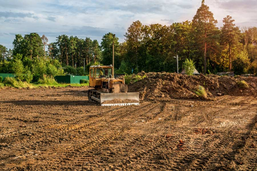 land grading and leveling before construction
