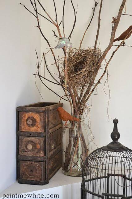 Beautiful corner bird nest