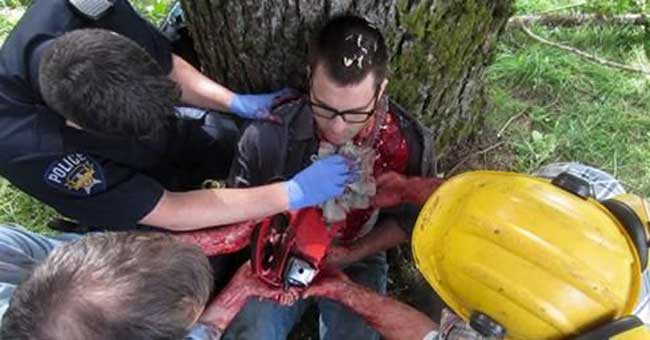 Emergency services with chainsaw victim